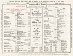 Trocadero, London 1913 Vintage Menu Art – Cool Culinaria USA