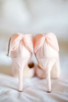 This Bride Killed It In Her Little White Wedding Dress #refinery29 http://www.refinery29.com/100-layer-cake/55#slide2 We need to own these pretty pink Badgley Mischka shoes!