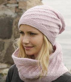 Спицами шарф-снуд и шапочка с узором фото к описанию