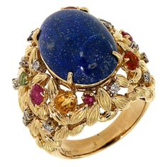 Citrine Lapis Sapphire Ruby Diamond Gold Ring
