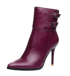 ELEHOT Womens Leather Eleand 7CM mid-heel Boots *** Discover this special boots, click the image : Desert boots