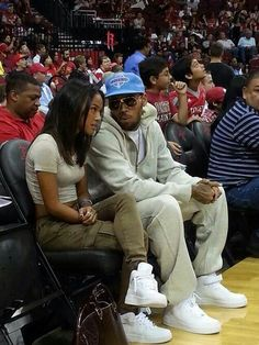 Chris Brown and Karrueche matching shoes!! That's adorable.
