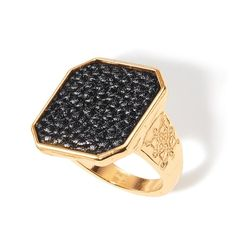 Ahead of the trend, this collection makes a true statement with the look of leather and gold. Goldtone ring with embossing on the sides and faux leather inlay on a square shaped casting on top of ring. Regularly $19.99, buy Avon Jewelry online at http://eseagren.avonrepresentative.com