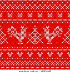 Red Holiday seamless pattern with cross stitch embroidered roosters and christmas ornaments. Endless scheme with cocks - symbol of New Year 2017, xmas tree, heart. For wrap, textile, wallpaper.