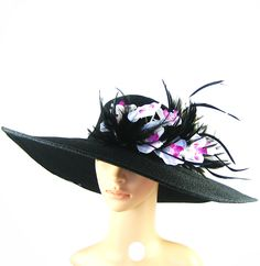 Derby Hat Kentucky Derby Hat Tea Party Hat BLACK Wide Brim Hat Womens Dress Hat Church Wedding Bridal Baby Shower Horse Race Ascot. $78.99, via Etsy.