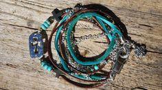 NEW..........Boho Endless Leather Wrap Bracelet/Necklace...Teal by fleurdesignz