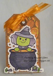 Margaret Gilmore: Cards and Cats: Witch in Cauldron - 10/24/15.  (Pin#1: 2 Cute... Pin+: Halloween: Witches...).