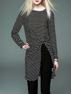 #AdoreWe #StyleWe Tunics - D.FANNI Black Casual Crew Neck Stripes Split Tunic - AdoreWe.com