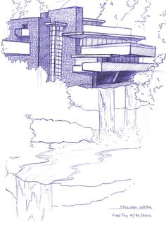 sketch falling water house - Recherche Google