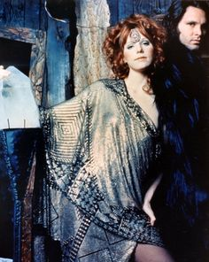"""Jim Morrison with his longtime companion and """"cosmic mate"""" Pamela Courson at a Themis Boutique promotional photo shoot (clothing business Jim purchased for Pam) 1969 #jimmorrison #thedoors #pamelacourson #pamelacoursonthemis"""