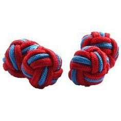 Red & Blue Silk Knot Cufflinks Cuffs & Co. $4.99. Silk knots, 11mm diameter. Stretchy silk, simple to attach to shirt. Packaged in a protective rigid nylon case. A range of over 200 colours and designs. Buy 3 or more pairs to get free delivery