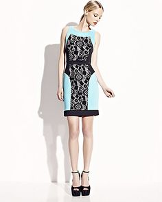 STRETCH DRESS WITH LACE INSETS BLACK-TURQUOISE