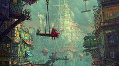 artwork, Concept Art, Digital Art, City, Children Wallpapers HD / Desktop and Mobile Backgrounds Fantasy Sketch, Fantasy City, Fantasy Kunst, Fantasy World, World Wallpaper, City Wallpaper, Wallpaper Backgrounds, 1080p Wallpaper, Illustrations