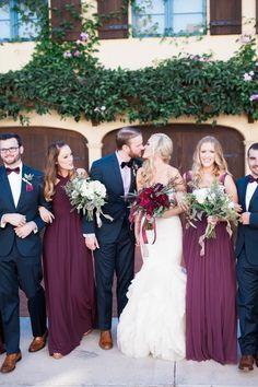 Winter garden wedding groomsmen with shades of marsala, berry & burgundy :)
