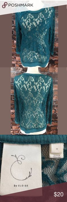 Anthropologie Eloise Top Size Med Teal Blue Lace Measurements: in inches ⭐️underarm to underarm: 20 ⭐️length: 26 Good, gently used condition Anthropologie Tops Blouses