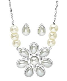 HMY Jewelry Faux Pearl & Stainless Steel Daisy Necklace & Earrings   zulily