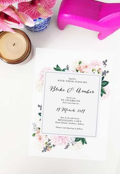 Create your dream day with these striking wedding invitations from Sail and Swan studio. Artist made and designed with love. Botanical Wedding Invitations, Floral Invitation, Berry Wedding, Wedding Day, Pastel Floral, Vintage Floral, Garden Wedding, Pink Roses, Berries