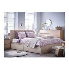 IKEA - MALM, Cadru pat înalt+4cutii depozitare, 140x200 cm, Lönset, , 4 sertare mari pe rotile pentru mai mult spaţiu de depozitare sub pat.Din furnir natural, care îmbătrâneşte frumos.Marginile patului sunt reglabile pentru a permite folosirea saltelelor de diferite grosimi.28 de straturi de lemn de mesteacăn, împărţite în 5 zone de confort, care se reglează după conturul corpului şi cresc supleţea saltelei.