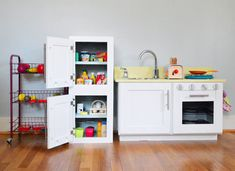 make a play kitchen refrigerator from an old cabinet