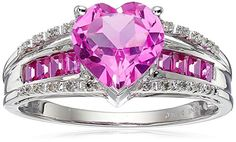 10k White Gold Created Pink Sapphire Heart with Diamond Accent Ring, Size 7	by Amazon Collection - See more at: http://blackdiamondgemstone.com/colored-diamonds/jewelry/rings/statement/10k-white-gold-created-pink-sapphire-heart-with-diamond-accent-ring-size-7-com/#sthash.pT3tWyRM.dpuf
