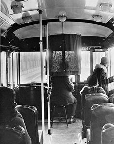 Inside the Los Angeles Railway yellow streetcar, circa 1929. Bizarre Los Angeles