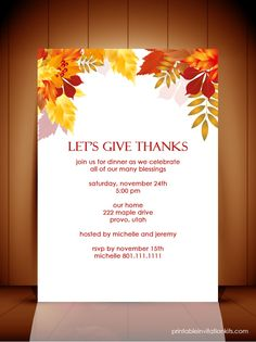 Autumn Invitation Template - simple and lovely.  Plenty of room for writing.  Love the bold colors.