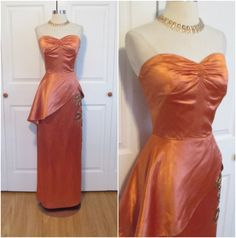 "1940's Vintage Show Stopper Copper Liquid Satin Beaded Vine Sweetheart Peplum Gown Medium 27"" Waist"