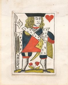 Gouache rendering for French playing cards, circa Wolfthing's private collection. Jack Of Hearts, King Of Hearts, Gouache, Playing Cards, French, Collection, Gaming, Cards, French People