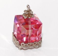 Vintage Nuvo Pink Crystal Present Box Sterling Silver Bracelet Charm.