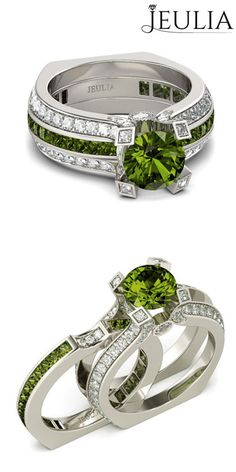 Two-in-One Round Cut Peridot Sterling Silver Engagement Ring, love it? #jeulia