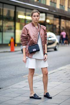 Street Style - Stockholm Spring 2015 - Harper's BAZAAR leather+sweater