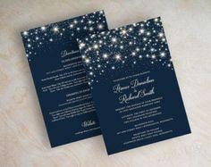 Starry Night Wedding Invitation Twinkling Starry Night Twinkling Lights Stars Glitter Star Wedding Invitations Navy Blue Twinkle