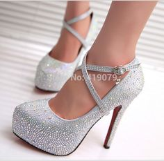 women pumps red round toe thin high heel bride wedding platform shoes lady  silvery crystal rhinestone Sexy heel shoe big size 42 Best prom shoes -  gold prom ... b9ef260643b7