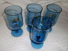 Four Boussu Crystal Blue Wine Glasses by VelsVintage on Etsy, $22.00