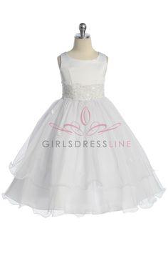 White+Double+Layer+Tulle+Flower+Girl+Dress+K198W+$57.95+on+www.GirlsDressLine.Com