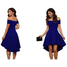 Women's BQD Women's Summer Off Shoulder LBD 2017 Party Dress (€18) ❤ liked on Polyvore featuring dresses, blue, little black dresses, off the shoulder dress, blue off the shoulder dress, off shoulder cocktail dress and white off shoulder dress