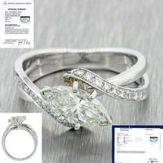 Modern 18k Solid White Gold 1.38ct Marquise Diamond Engagement Ring EGL