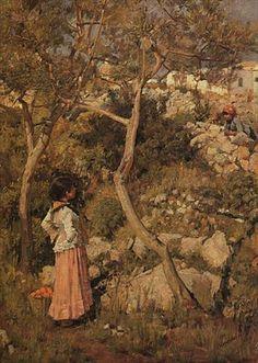Two Little Italian Girls by a Village :: John William Waterhouse :: johnwilliamwaterhouse.com