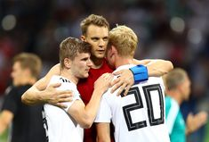 Timo Werner, Manuel Neuer and Julian Brandt of Germany celebrate following the 2018 FIFA World Cup Russia group F match between Germany and Sweden at Fisht Stadium on June 23, 2018 in Sochi, Russia.