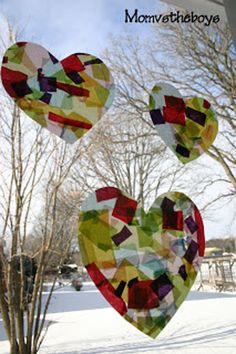 Pin for Later: 22 Valentine's Day Crafts Your Kiddo Can Make Sun Catchers Lighten up your house with love. The Boys created these heart-shaped sun catchers that you can keep up all year long. Valentine's Day Crafts For Kids, Valentine Crafts For Kids, Valentines Day Party, Craft Activities For Kids, Toddler Crafts, Projects For Kids, Holiday Crafts, Art Projects, Valentine Ideas