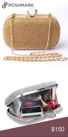 Beautiful Gold Rhinestone Clutch Gives an amazing sparkle and shine. Sure to be the elegant addition to any special occasion Bags Clutches & Wristlets