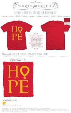 Red 9030 CC T-Shirt with 1 Color Font.HOPE with the O as the CMNH Hot Air Balloon Logo.Profits from this purchase go to our national philanthropy, Children's Miracle Network Hospitals!