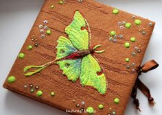 Embroidered Luna Moth book journal notebook by Indrasideas on Etsy, $52.00