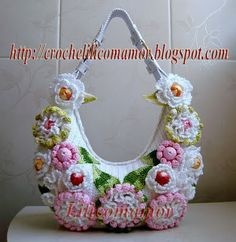 Marvelous Crochet A Shell Stitch Purse Bag Ideas. Wonderful Crochet A Shell Stitch Purse Bag Ideas. Crochet Diy, Love Crochet, Beautiful Crochet, Crochet Flower Patterns, Crochet Designs, Crochet Flowers, Crochet Handbags, Crochet Purses, Crochet Shell Stitch