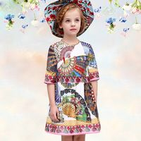 robe fille 2015 european brand girl dress half sleeve Fan print fashion summer dresses deguisement enfant baby clothes for girls