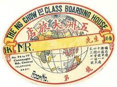 Hotel NG Chow Boarding House, luggage label, Hong Kong | eBay
