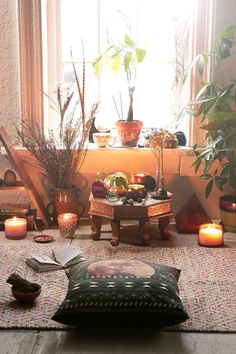 This is a beautiful idea for a meditation room where you can relax with aromatherapy with incense or our oil burner with a rich lavender essential oil.
