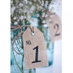 Etiquette numéro de table en toile de jute