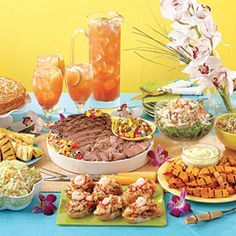 Tropical Luau Menu:   Break out the tiki lights and fire up the grill for an unforgettable spread. [click links for each recipe]