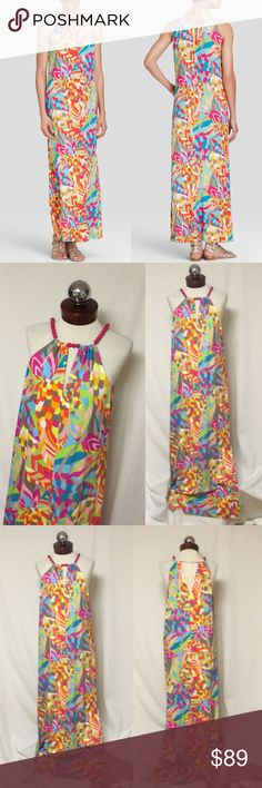 """TRINA TURK $298 lulani beaded maxi dress Excellent condition!  lined to knee  The Lulani Dress is everything we've been waiting for from Trina. Amazing vivid print? Check! Dramatic maxi length? Check! Pink beaded necklace halter? Check! Can you wear it on vacation, or poolside, at brunch or out for a night on the town? Check, check, check, check!  58"""" Length Lined Necklace collar with adjustable clasp Pull on styling Trina Turk Dresses Maxi"""